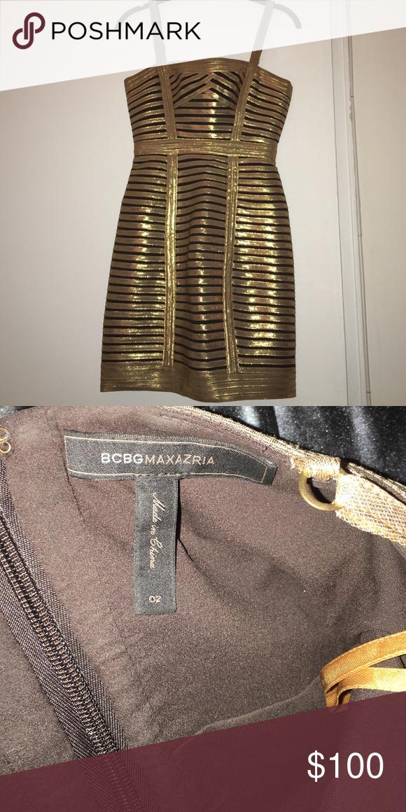 66f81f7339c9 BCBG Max Azria gold black bodycon dress Sexy gold black body hugging dress  BCBGMaxAzria Dresses Mini