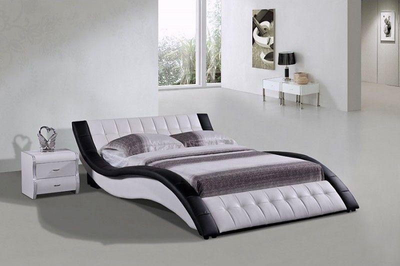 Wavy Dark Brown Low Profile Platform Bed Modern Bedroom