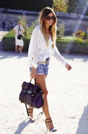 .SIlk top and jean short combo! Swoon!