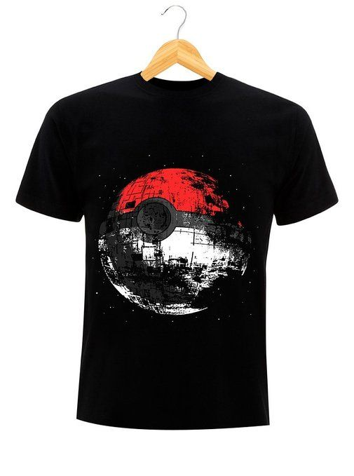 T-Shirt Pokeball Nintendo Pokemon Star WarsDeath Star Estrella de la muerte  negro small 03d1445949922