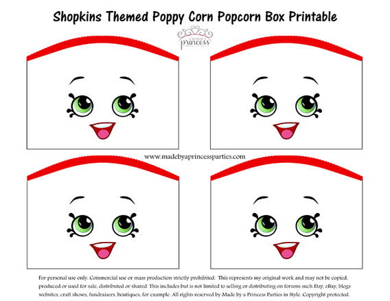 Shopkins Themed Poppy Corn Popcorn Box FREE Printable Made By A Princess