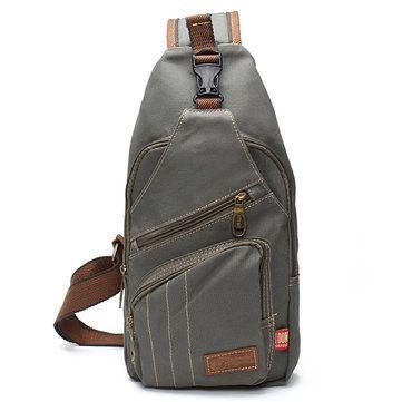 14ed9b8d6b97 Men Outdoor Canvas Travel Hiking Crossbody Bag Casual Chest Bag