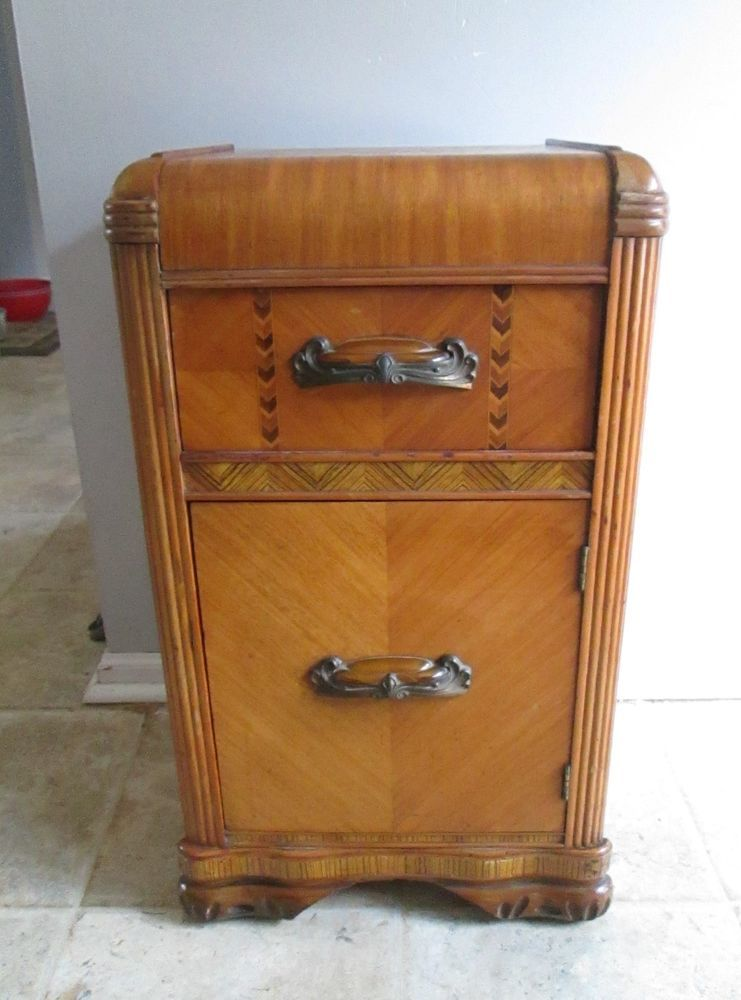 1930s 40s art deco waterfall nightstand endphone table sharp design