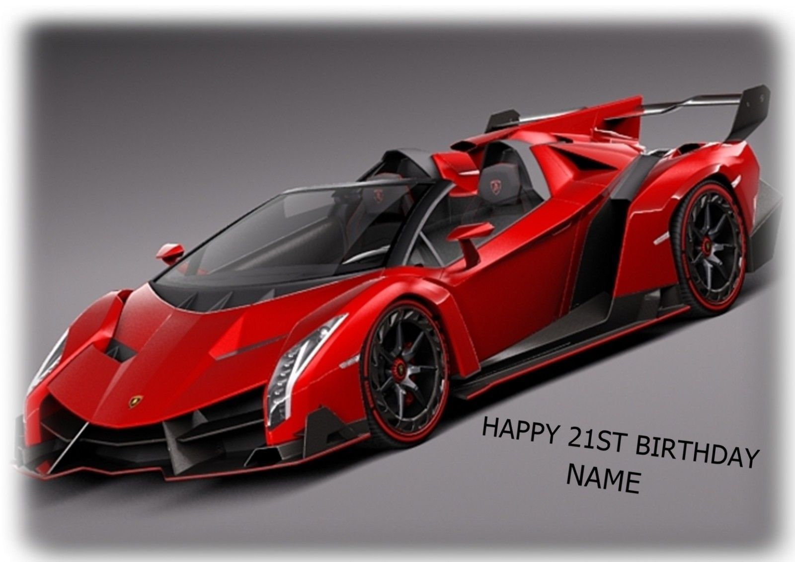 Lamborghini Racing Sports Car A4 Rectangle Cake Topper Wafer Card