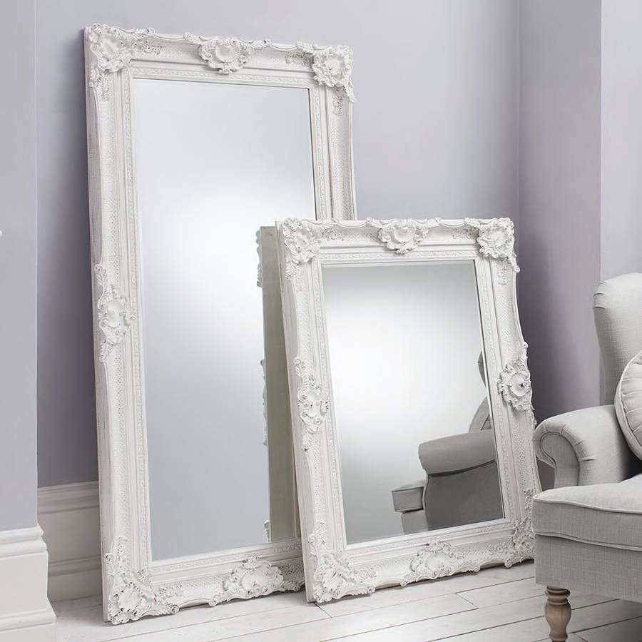 Ornate White Wall And Floor Standing Mirror | Floor standing mirror ...