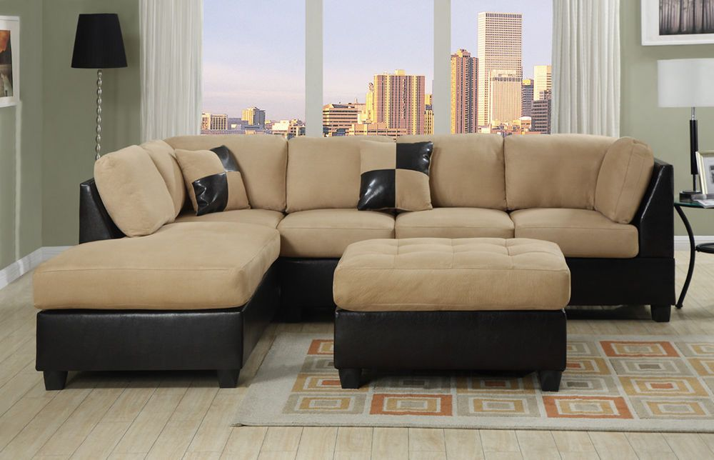 Sectional Couch Sofa Sectionals Microfiber Faux Leather Complete Set W Chaise Contemporary Sectional Sofa With Chaise Microfiber Sectional Sofa Sectional Sofa