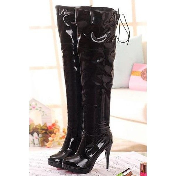 2b747971c247 Black Faux Patent Leather Lace Up Back Thigh High Boots ( 32) ❤ liked on  Polyvore featuring shoes
