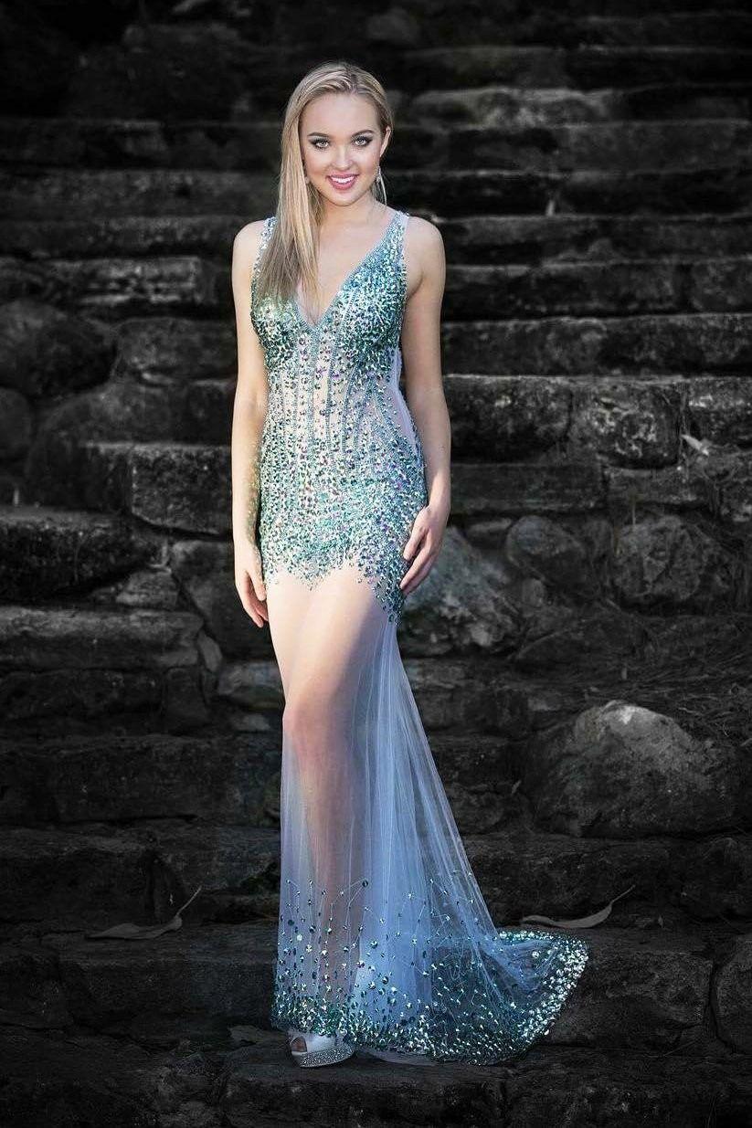 Rhinestone see through straps sleeveless backless mermaid prom