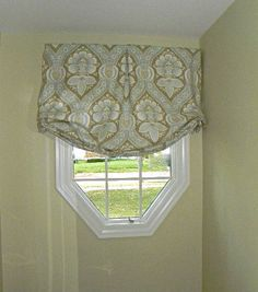Octagon Window Shape With A Relaxed Roman Shade