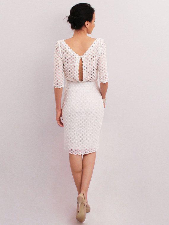 White pencil dress, elegant midi dress, medium sleeve, knee dress ...