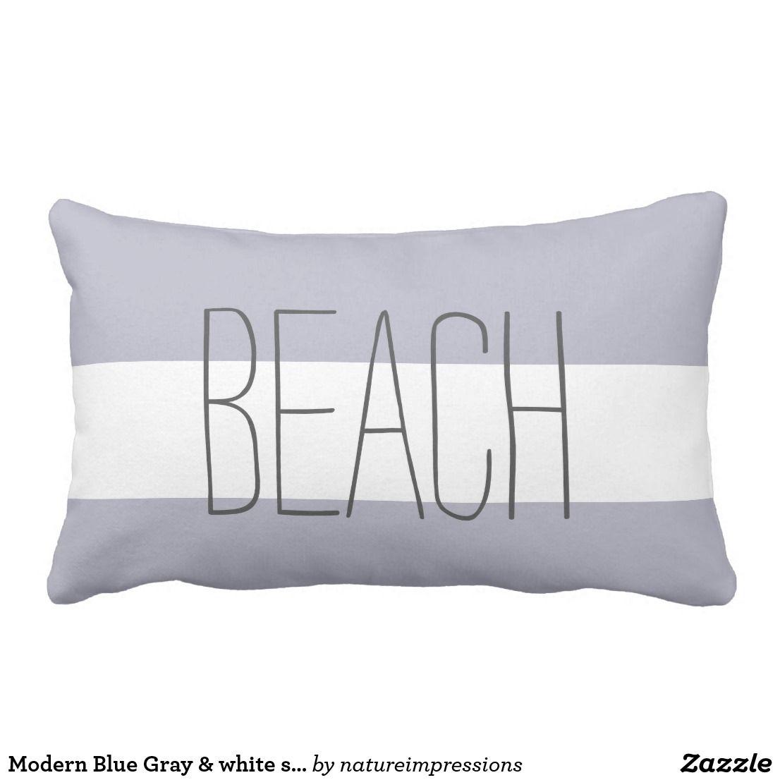 Modern Blue Gray & white stripes beach script