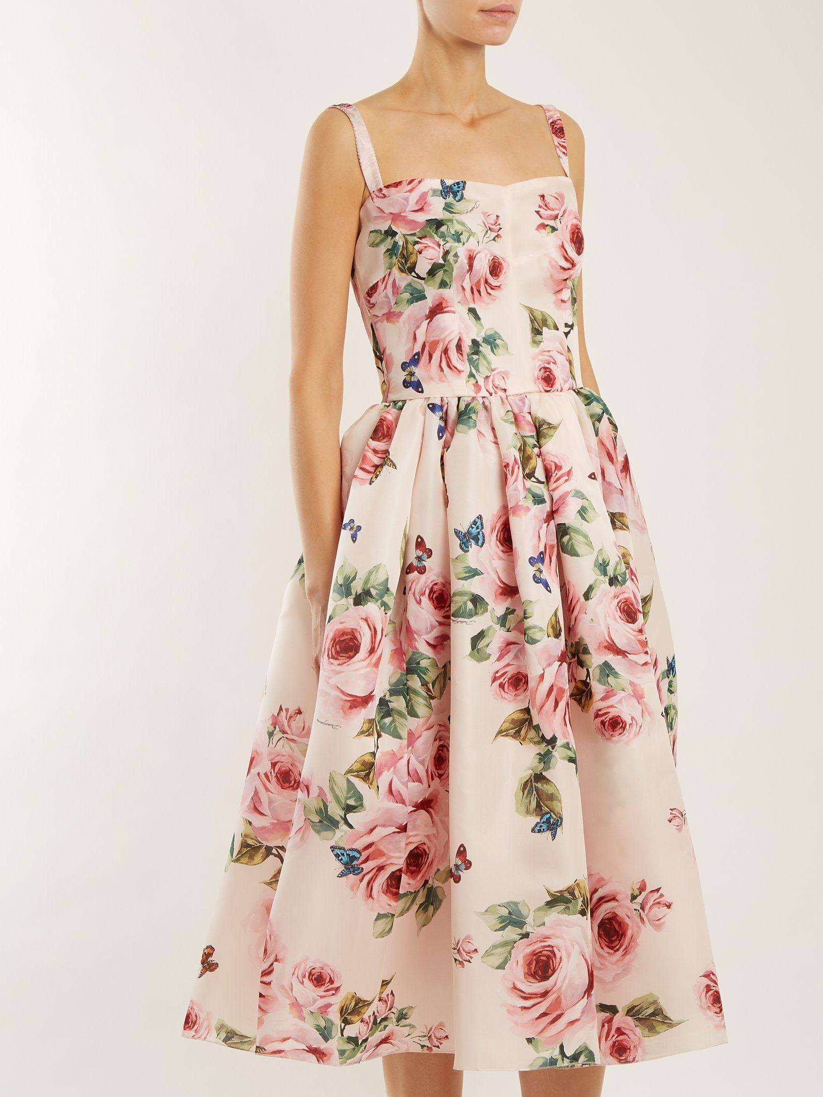 cbe535b5 Rose-print silk organza dress | Dolce & Gabbana | MATCHESFASHION.COM ...