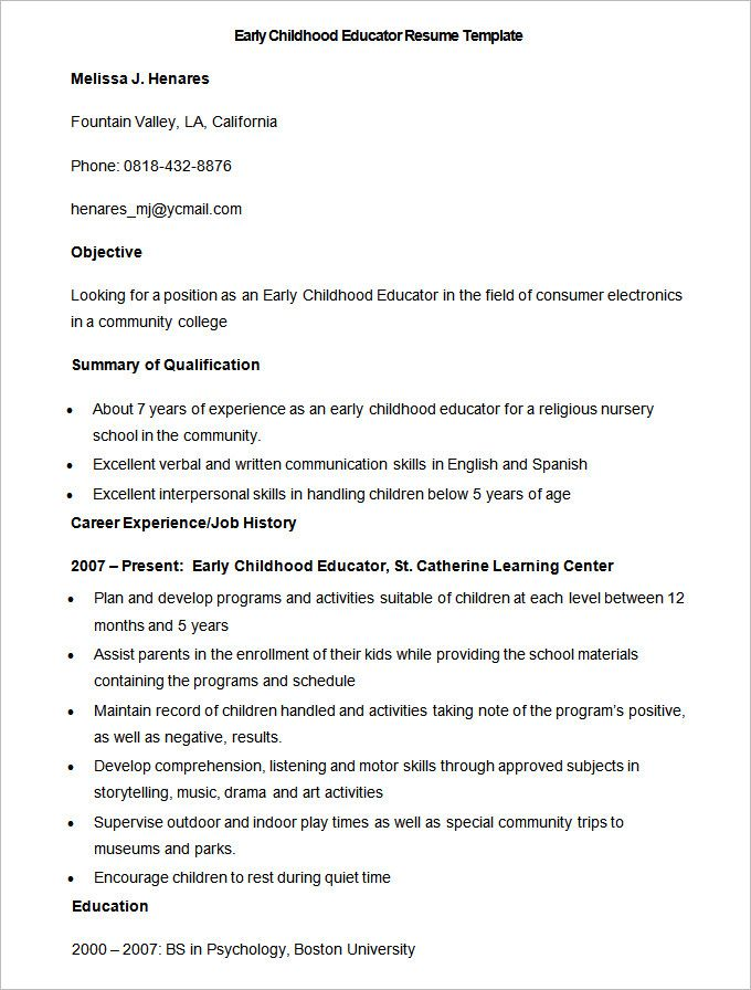 Sample Early Childhood Educator Resume Template , How to Make a Good ...