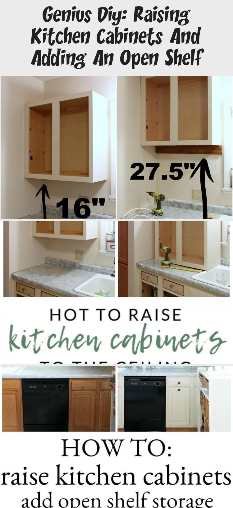 Genius Diy Raising Kitchen Cabinets And Adding An Open Shelf Diy Kitchen Shelves Kitchen Cabinets Diy Shelf Decor