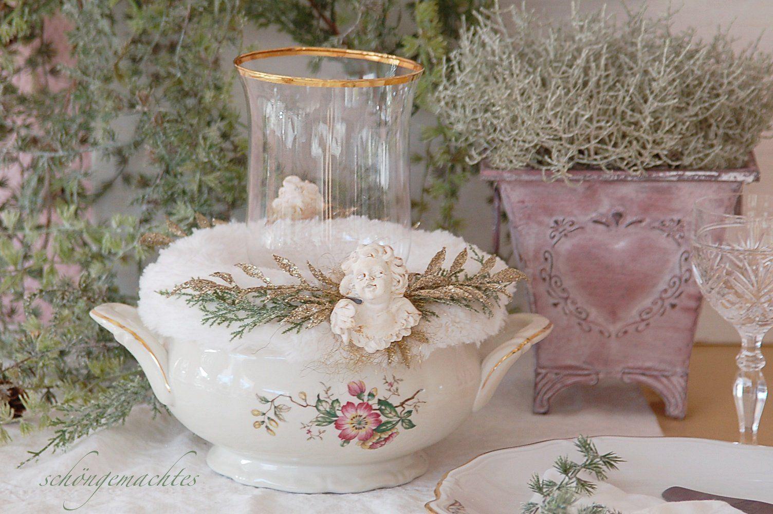 Adventskranz In Terrine Shabby Chic Weihnachtsdekoration Vintage Brocante Weihnachten Romantisch 14 Shabby Chic Shabby Glassware