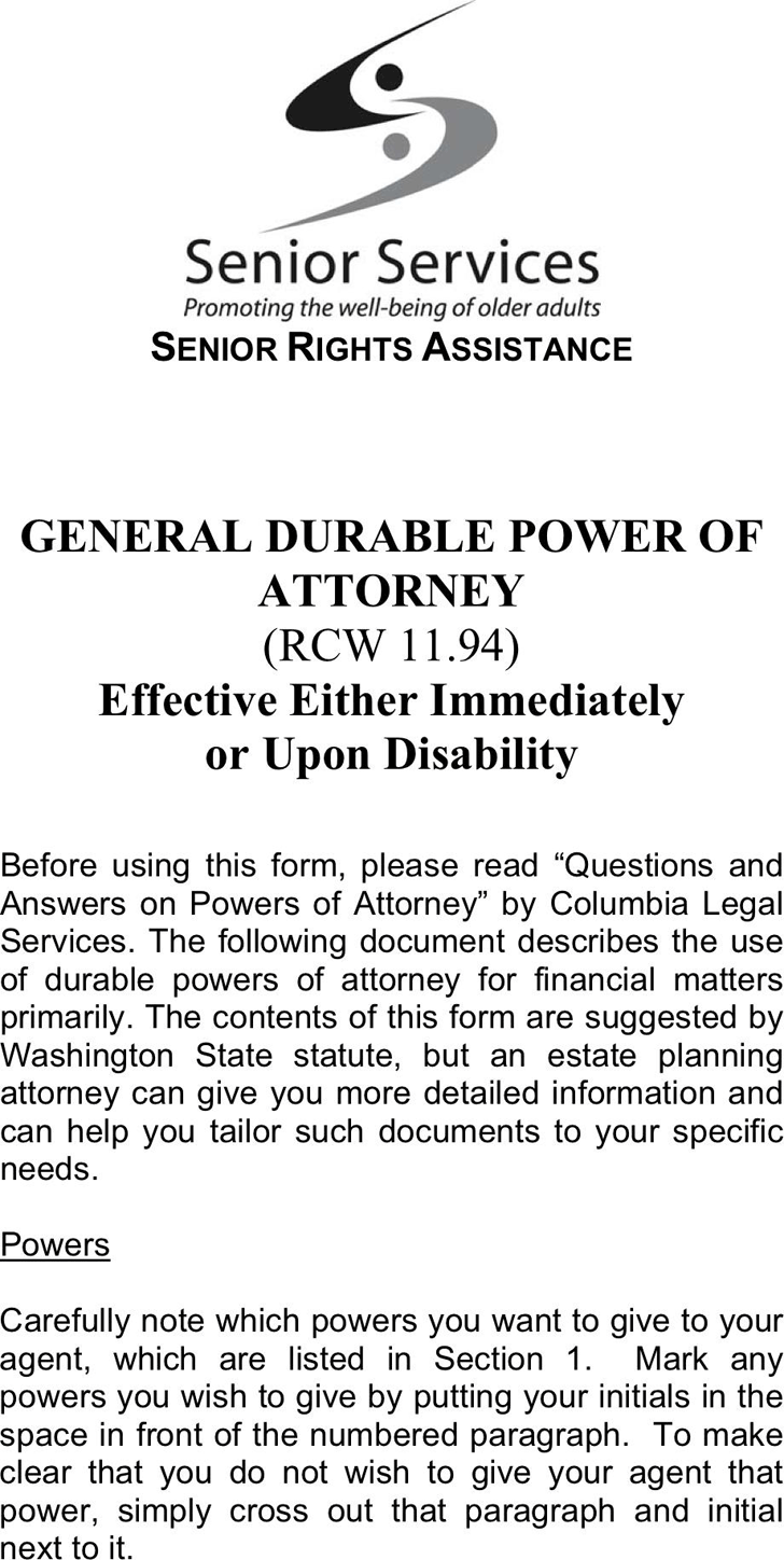 Washington General Durable Power Of Attorney Form Legal