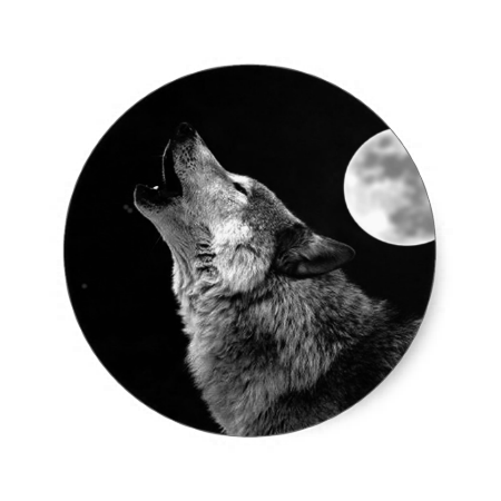 Bw Wolf Howling At Moon Classic Round Sticker Zazzle Com