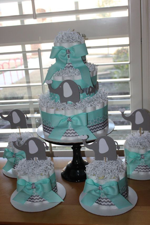 Elephant diaper cake bundle mint gray theme
