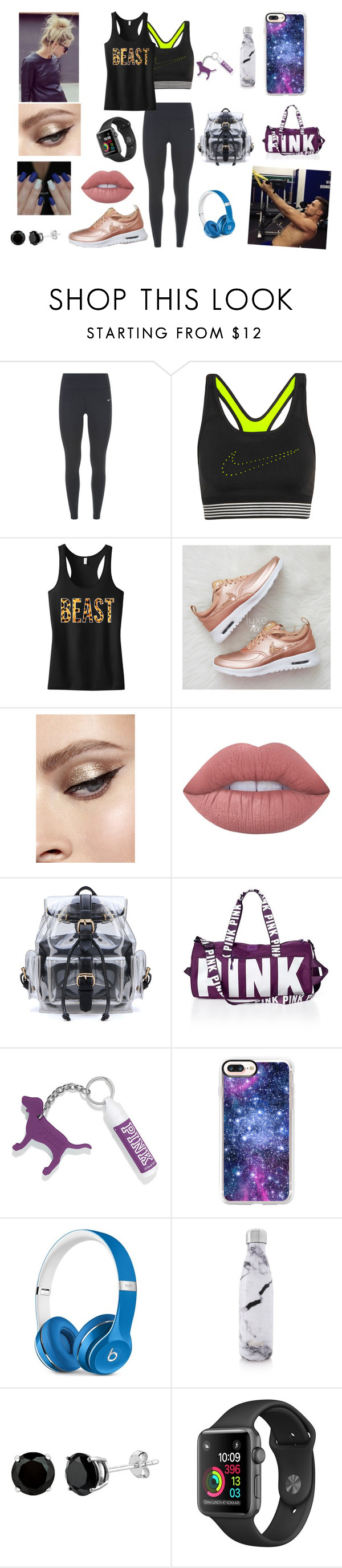 """""""Workout w/ Liam❤"""" by bekahrosee ❤ liked on Polyvore featuring NIKE, Lime Crime, Victoria's Secret, Casetify, Beats by Dr. Dre, S'well and Payne"""