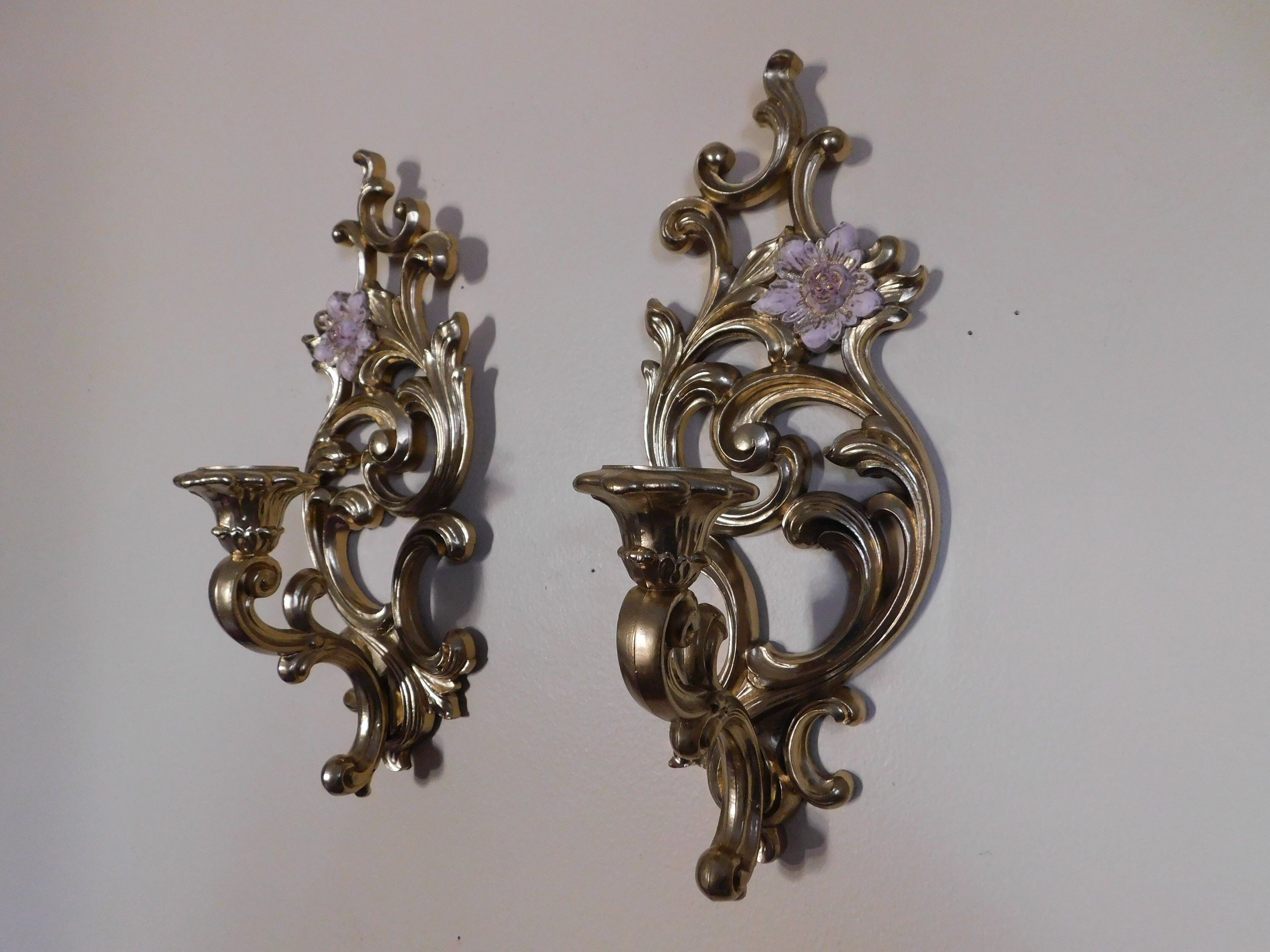 Vintage wall sconce, Syroc painted gold with pale pink ... on Wall Sconces That Hold Flowers id=76857