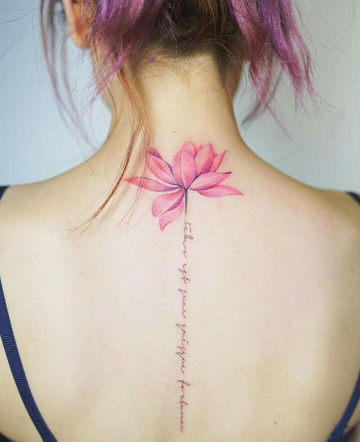 69a89168ce1db Flower and writing down the center of back. | Tattoo Inspiration ...