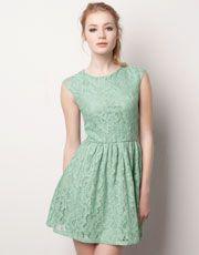 Vestido verde agua de encaje