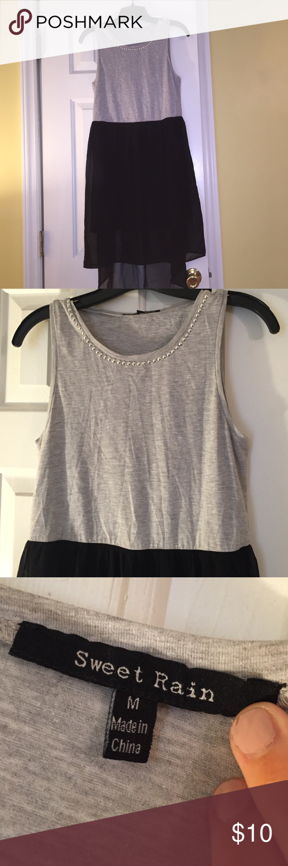 "High-low dress black and grey boutique Super cute! Size medium, but a ""big medium"" could fit large too! Dresses High Low"