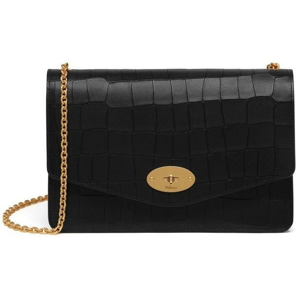 a5f2b21d775 Mulberry Darley ($630) ❤ liked on Polyvore featuring bags, handbags,  clutches, black, mulberry purse, crocodile leather handbags, leather  clutches, ...