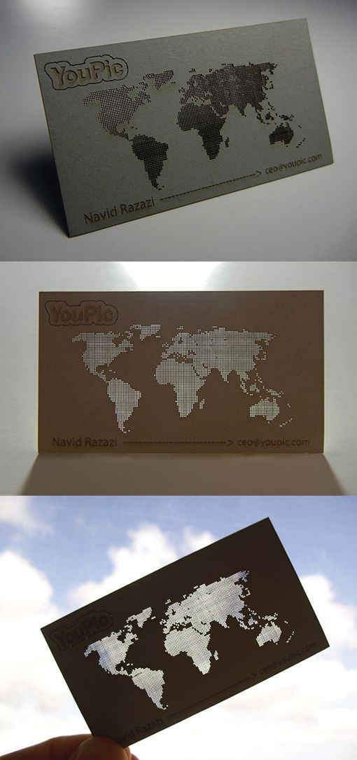 Intricate Laser Cut See Through Map Business Card Design | Business ...