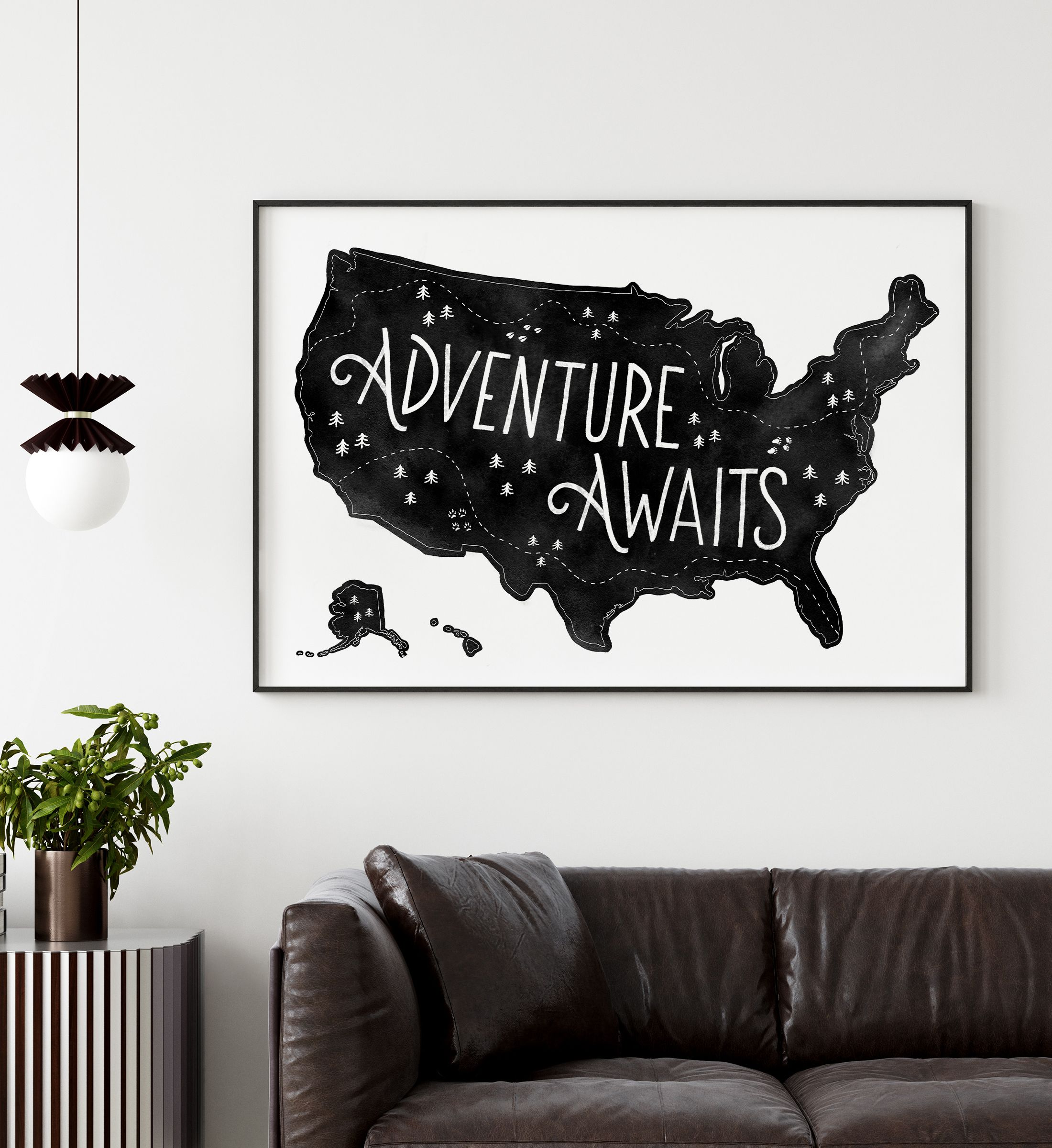 Black Us Map Print Adventure Awaits Printable Wall Art Etsy Printable Wall Art Etsy Travel Wall Art Watercolor Map