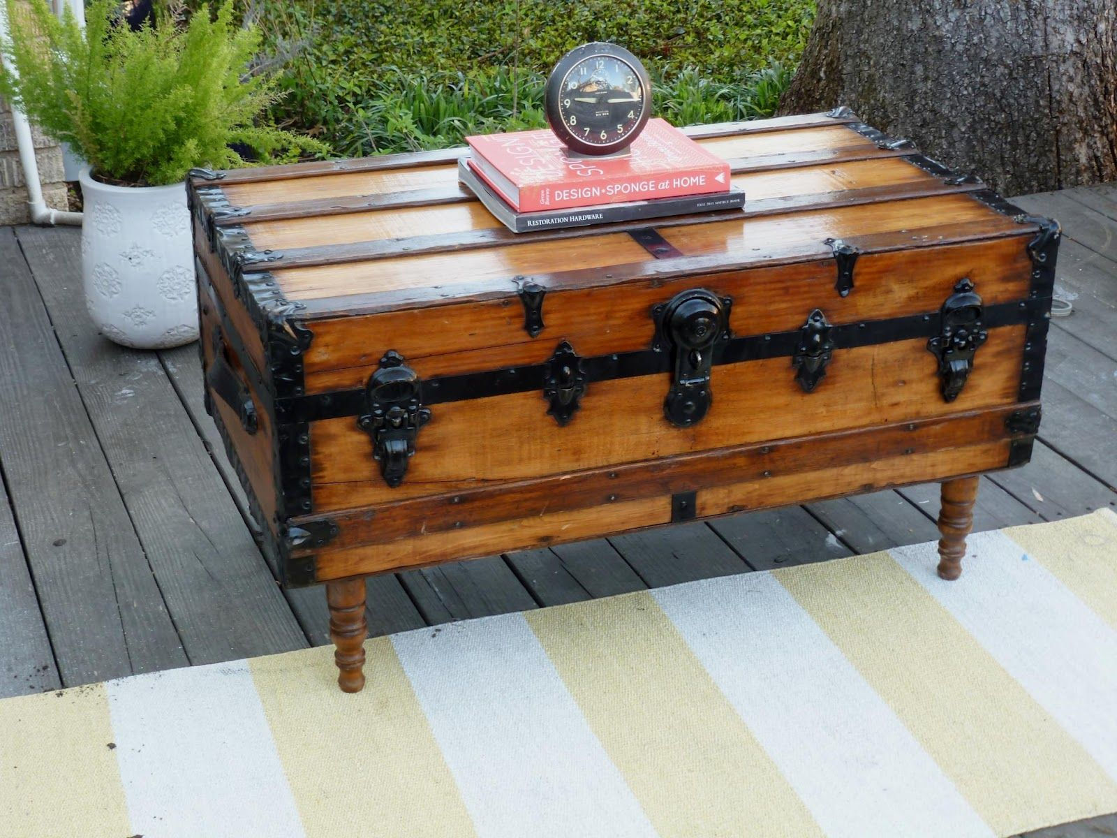 Cool idea for old trunk into coffee table.   Old trunks ...