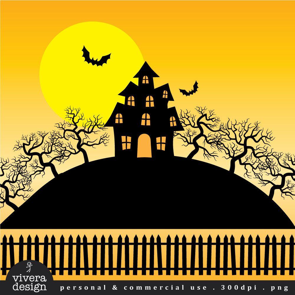 Halloween Clip Art Haunted House Creepy Mansion And Trees 5 00 Via Etsy Halloween Clipart Haunted House Scary Houses