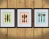 Kitchen Art Print - Chevron, Dining Utensils, Cooking Utensils - Set of 3 - 8X10 - Apple Green, Orange, Sky Blue, Brown- No. KB006-4