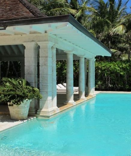 Famous Folk At Home Annette And Oscar De La Renta In The Dominican Republic Pool Houses In Ground Pools Pool Patio