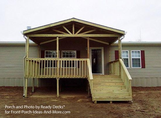 Mobile Home Front Porch Design By Ready Decks With Gable And Open Rafters For Ideas