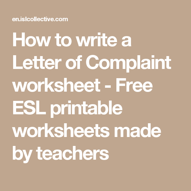 How to write a Letter of Complaint worksheet - Free ESL printable worksheets made by teachers