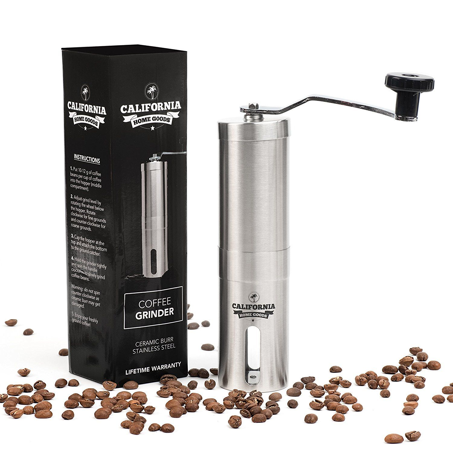 Premium Ceramic Burr Coffee Grinder Portable Stainless