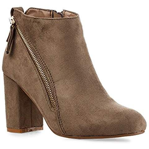 Women's Tailored Vegan Suede Side Gold Decor Zipper Almond Toe Low Round Heel Ankle Bootie Boots