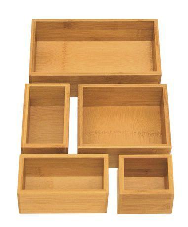 Seville Classics Sevilel Classics 5pcs Bamboo Drawer Organizer Box Organization Boxes Drawer Organisers Kitchen Gadgets Organization
