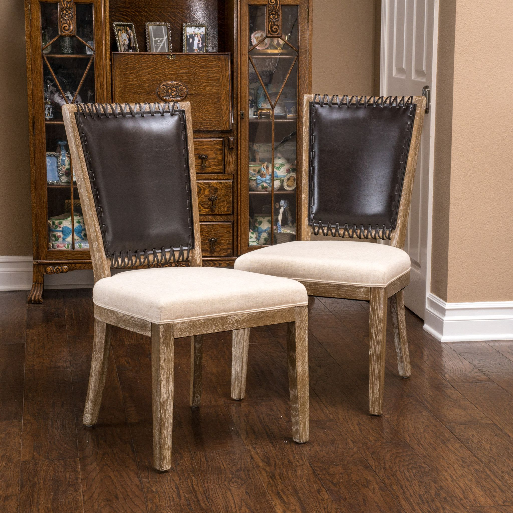 Set of 2 Dining Room Weathered Oak