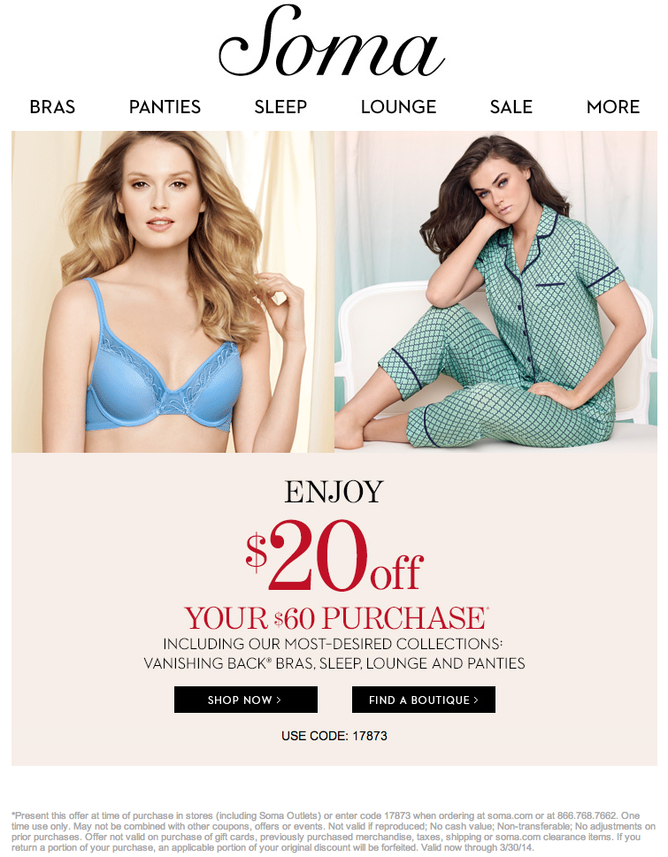 photograph regarding Soma Printable Coupon named Soma Intimates: $20 off $60 Printable Coupon Discount codes