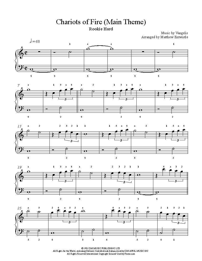 Chariots Of Fire Main Theme By Vangelis Piano Sheet Music Rookie
