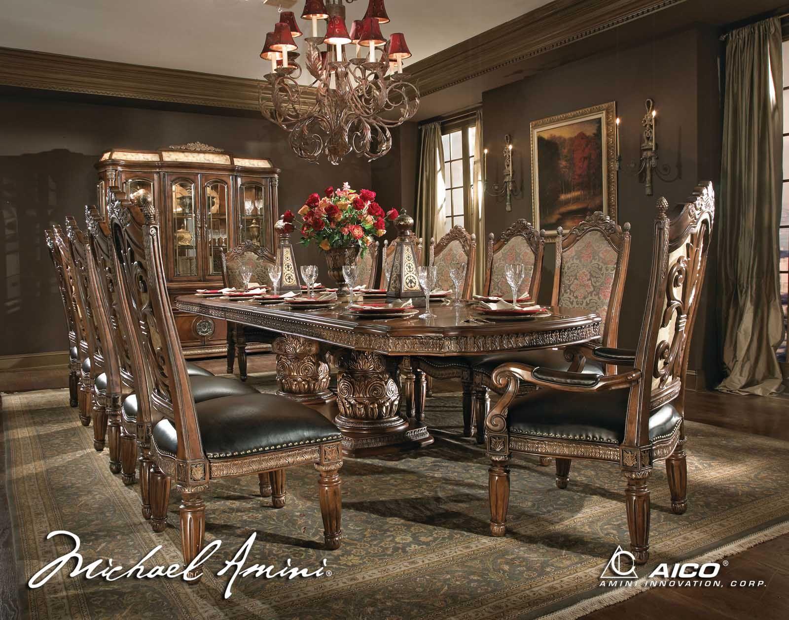 Aico Villa Valencia 7 Pc Rectangular Table Set In Classic Chestnut