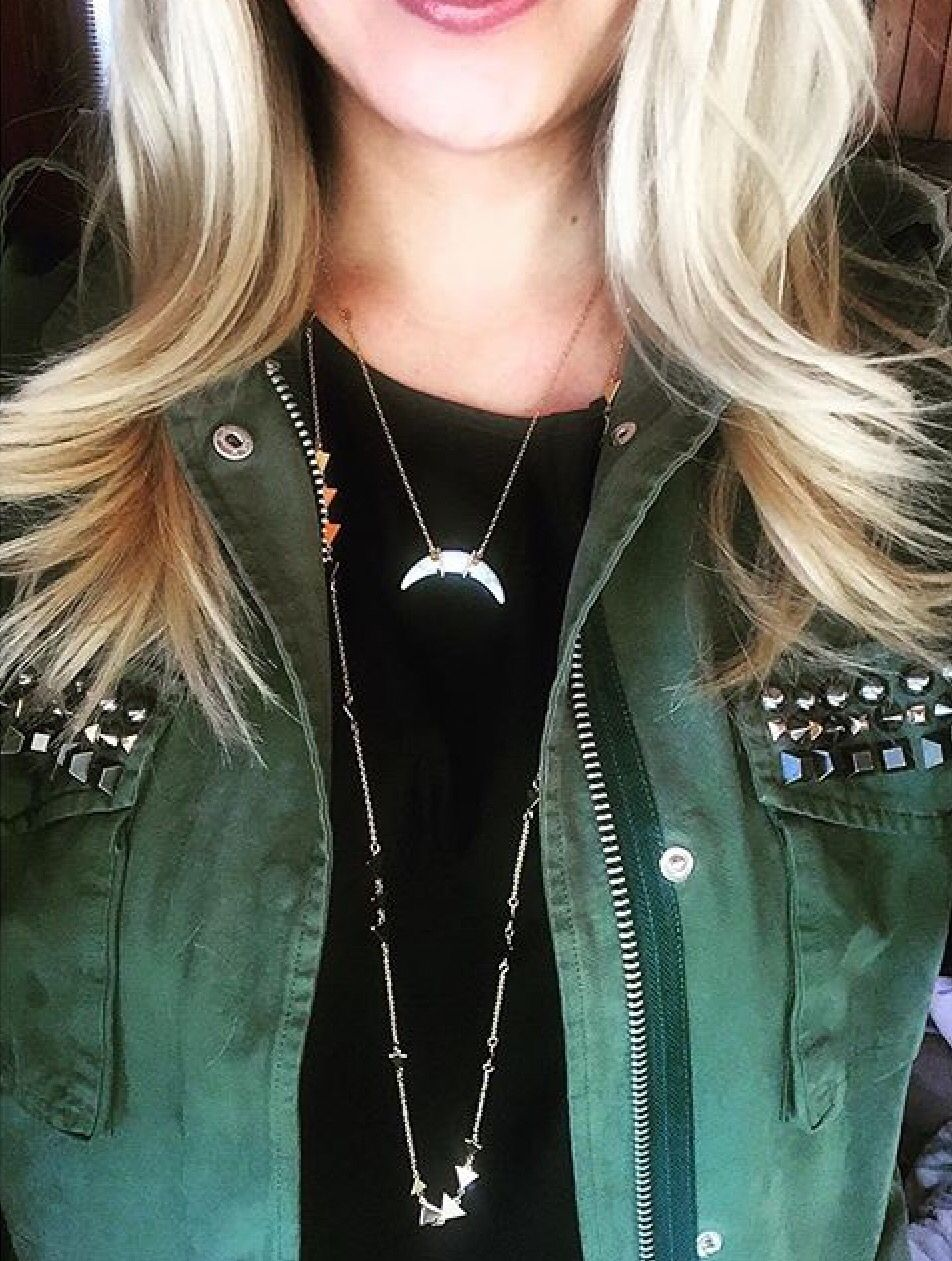 Stella Dot Arc Pendant Necklace Paired With Gold Alexia Necklace