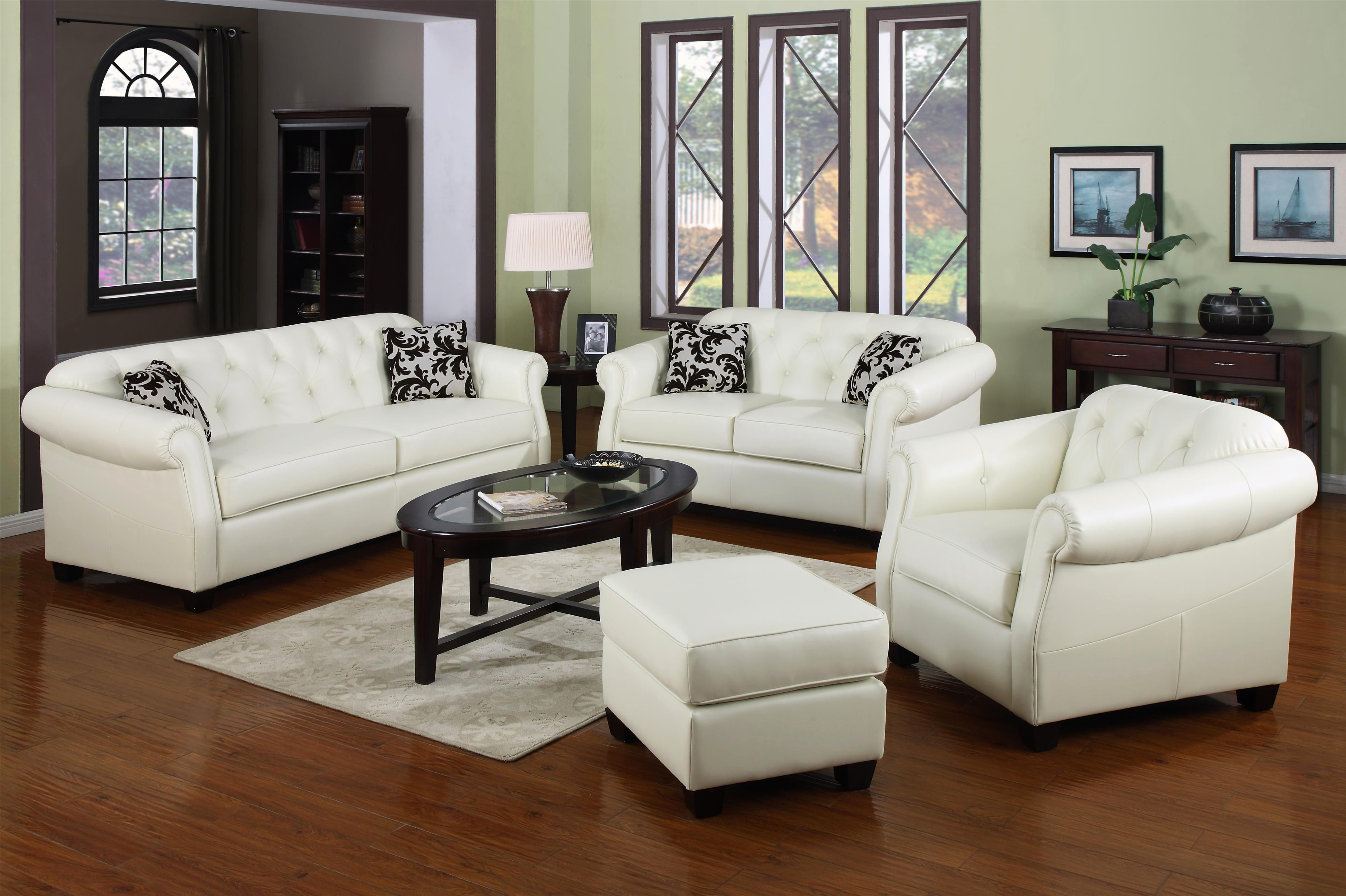 Unique 3 Piece White Leather sofa Set