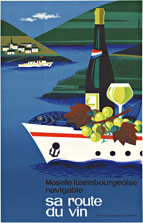 Original vintage travel poster featuring the wine route along the Moselle River