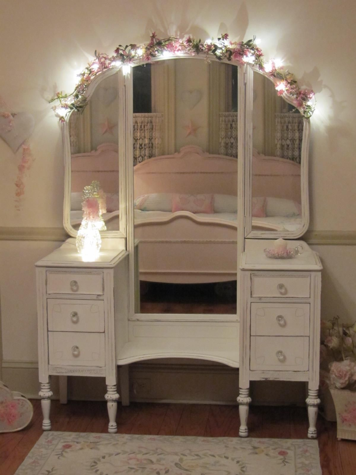 lights and swag over mirror home decor shabby chic furniture rh pinterest com
