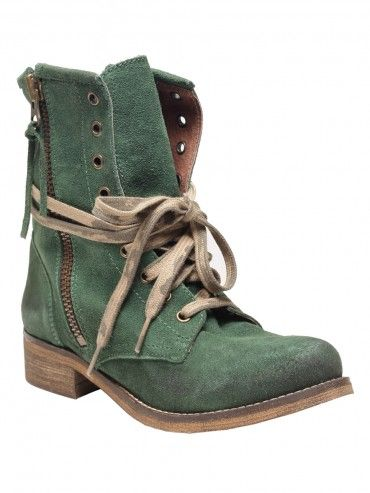 Green leather, lace-up combat boots featuring a natural, distressed look with a side zipper closure on each side