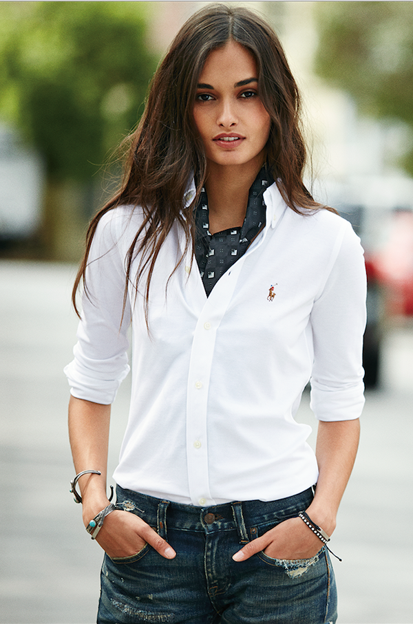 An icon reinvented: Shop the new Polo Ralph Lauren women\u0027s knit oxford.  Inspired by two of our classics, this cotton pique shirt combines the  tailored look ...
