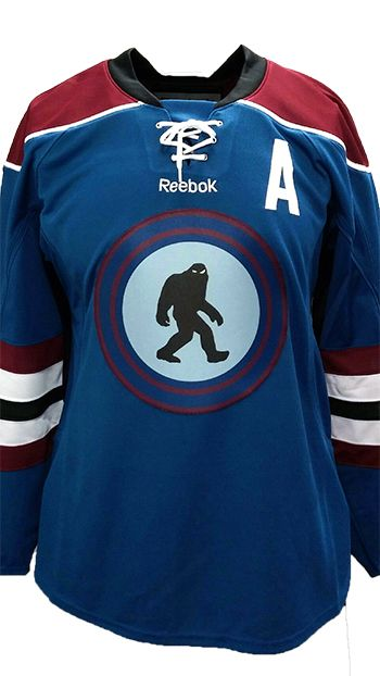 Looks a little be like a Scooby Doo cartoon but it s pretty sick.  sassers   custom  hockey  jersey  twill  colorado  avalanche  reebok ... 614c9edf586